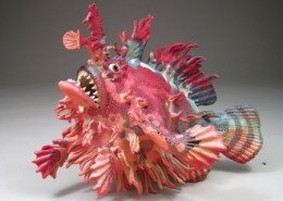Alan and Rosemary Bennett create amazing stoneware clay or porcelain fish sculptures inspired by childhood experiences in and around water.