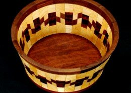 Allen Davis, Woodworker in Waynesville, NC creates food safe bowls, trays, cutting boards and bottle stoppers using a variety of wood species in the design.