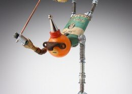 Amy Flynn, Mixed Media Artist creates amazing found object robots in her Fobots Studio in Raleigh, North Carolina.