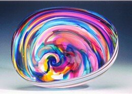 David Goldhagen, Glass Artist in Western NC creates sculptural forms and handblown glass plates using bold colors and brilliant crystal in a modern style.