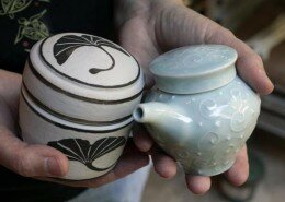 Deborah Harris, Potter, creates thrown porcelain bowls, mugs, vases, platters and more out of her Chapel Hill, NC studio.