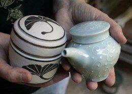 Deborah Harris, Potter, creates thrown porcelain bowls, mugs, vases, platters and more out of her Chapel Hill, NC studio.