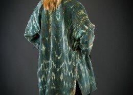Joanna White, Fiber Artist, hand paints silk to create art to wear in her Fiber Visions studio in North Carolina.