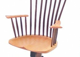 Michael Brown, woodworker and chair maker, creates his custom built pieces with elegant lines and a modern feel often from wood felled on his NC property.