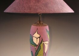 Barbara Mann Clay Artist in Norfolk, VA creates wheel-thrown bowls, lamps and serving pieces showcasing form, design and color and finished with a matte glaze and gold, silver or copper leaf.