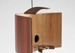 Mark Ellis Woodworker in Charlotte NC designs and builds contemporary birdhouses using a combination of retro 50's design and salvaged tropical hardwoods.