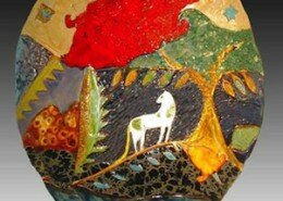 Cathy Kiffney, Ceramic Artist, creates nature inspired colorful hand-built ceramic wall-works, vessels and art tiles out of her Chapel Hill, North Carolina studio.