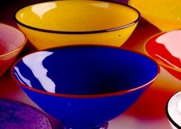 Lisa Aronzon, Glass Artist in Broadway, Virginia creates hand blown glass vessels.