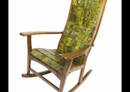 Alan Daigre, woodworker in Readyville, TN, creates rocking chairs, dining chairs, bar stools, desk chairs, and a chaise from his own unique woven design.