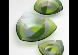 Marianne Shepardson, glass artist in Black Mountain, NC, creates colorful, fun and functional kiln-fired glass tableware, lighting, and wall art pieces.