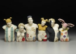 Nancy Kubale, ceramic and mixed media artist in NC, hand builds stoneware clay figures that contemplate our shared existence and individual essence.